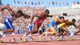Sprinter Ben Johnson (2.v.l.) bei der WM 1987 in Rom © imago/Colorsport