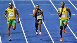 Asafa Powell, Tyson Gay und Usain Bolt (v.l.) © imago / Cordon Press / Miguelez Sports